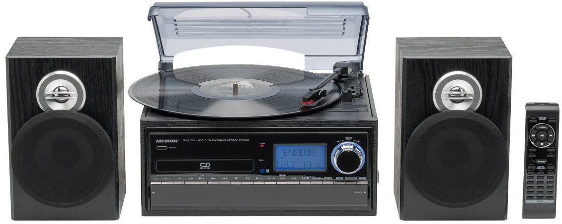 MEDION LIFE E69402 Platten  und Kassettenspieler mit Boxen und Fernbedienung für 88,88€ (statt 126€)
