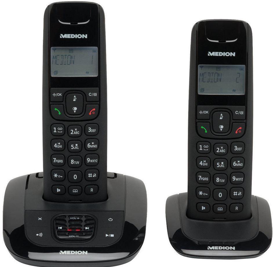 MEDION LIFE E63192   2er Set DECT schnurlos Telefon mit AB für nur 19,99€
