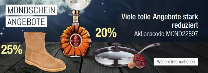 Mondschein Banner Gutschein 20% Rabatt auf Cognac & Brandy + weitere Aktionen   Galeria Kaufhof Mega Mondschein Angebote