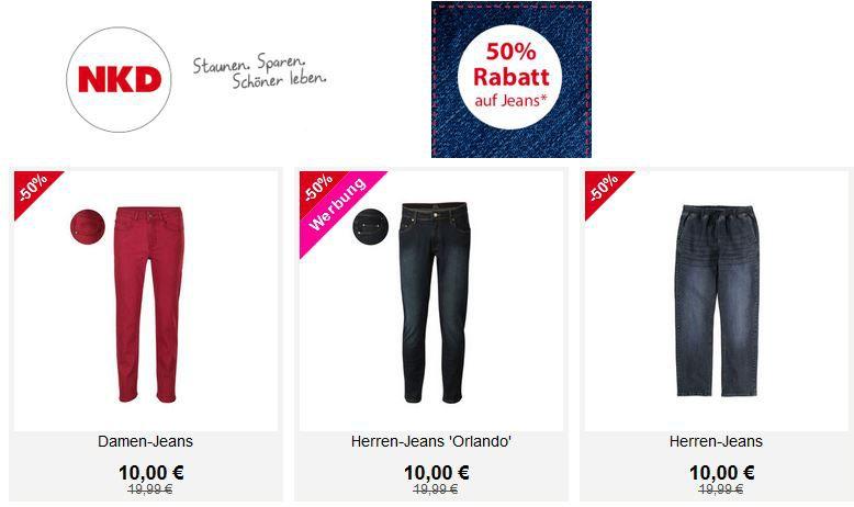 NKD mit 50% Rabatt auf Jeans + 5€ Gutschein ab 40€