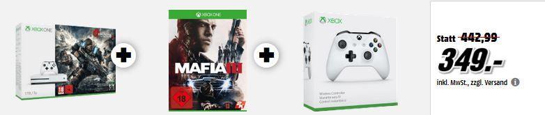 PS 4 Slim Bundle Xbox One S 1TB + Gears of War 4 + W. Controller + 1 Game nach Wahl für 349€  oder Xbox One S  500GB mit 3 Games für 299€