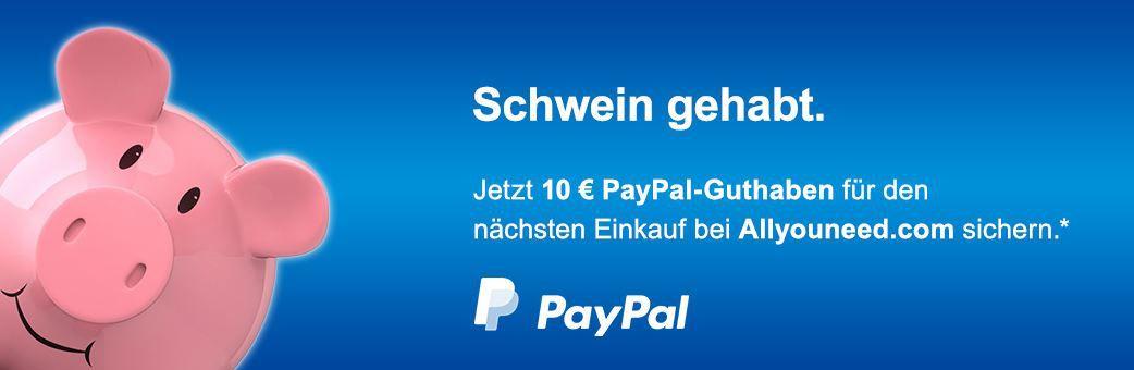 Paypal allyouneed Gutschein Allyouneed mit 10€ PayPal Gutschein ab 59,99€