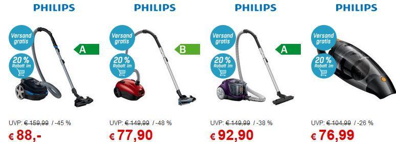 Philips Staub Sauger Sale Philips Staubsauger mit 20% extra Rabatt bei Redcoon bis Miternacht