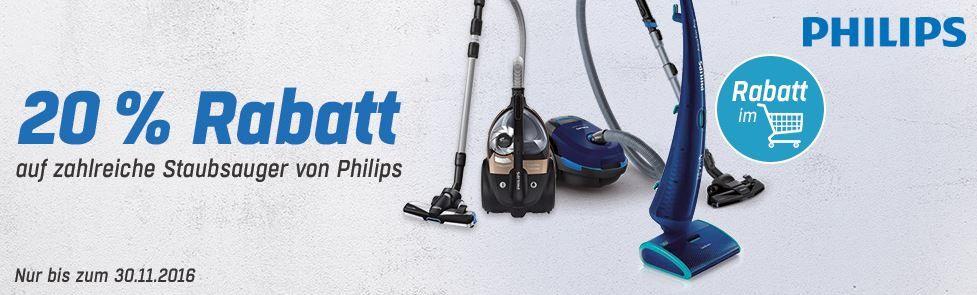 Philips Staubsauger Rabatt Aktion Philips Staubsauger mit 20% extra Rabatt bei Redcoon bis Miternacht