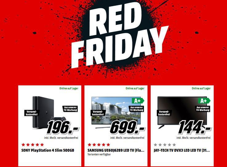 Media Markt Red Friday: z.B. PS4 Slim 500Gb 196€ uvm...