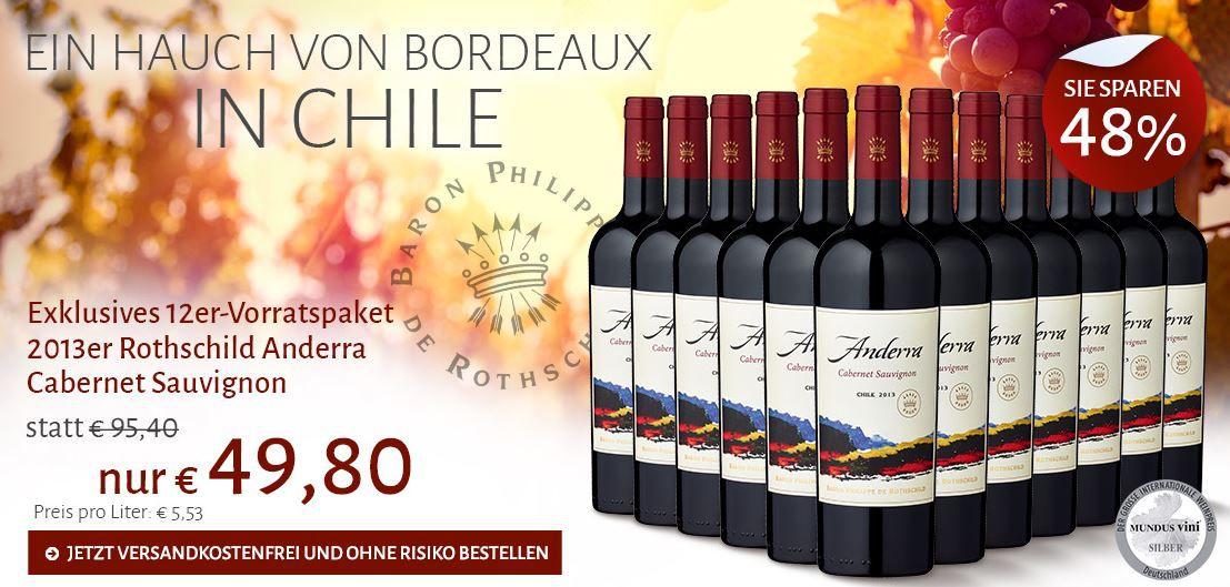 Rothschild Anderra Cabernet Sauvignon 2013 chilenischer Rotwein im 12er Set für nur 49,80€