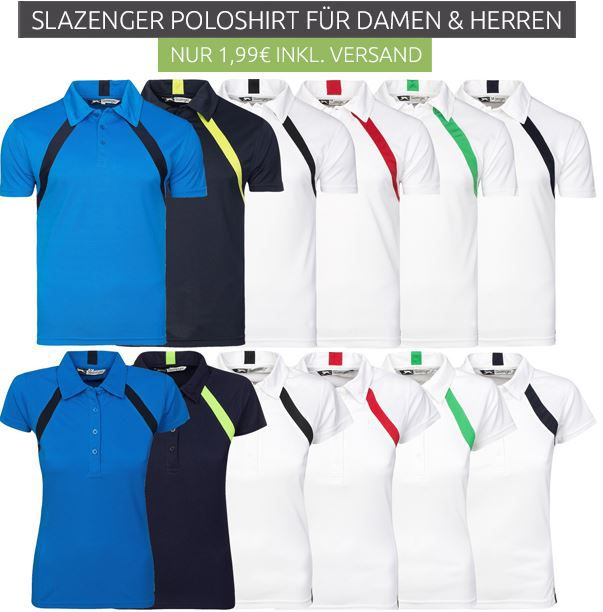 Slazenger Lob Cool Fit Poloshirts für Damen und Herren für je nur 1,99€ (statt 10€)