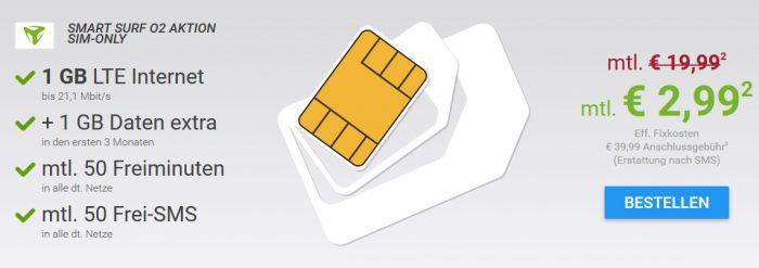 o2 Smart Surf mit 50 Min, 50 SMS & 1GB LTE für eff. 3€ monatlich