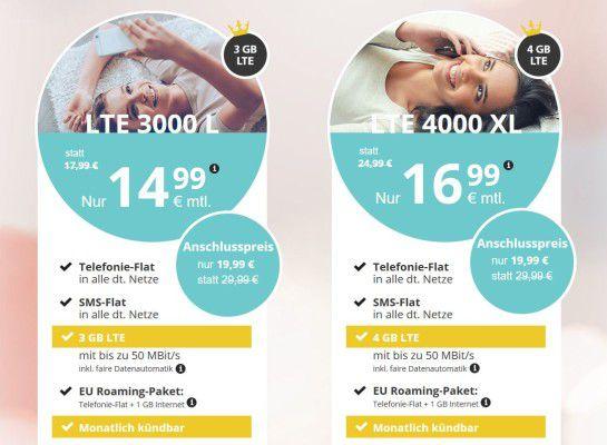 Allnet Flat + 3GB LTE für 14,99€ mtl. oder mit 4GB für 16,99€ mtl.   monatlich kündbar!