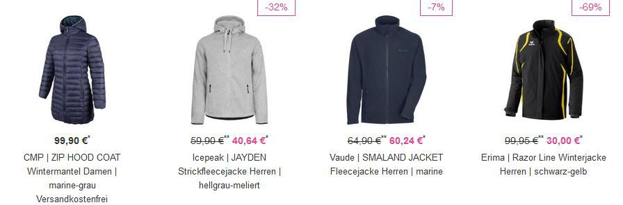 Vaoloa Jacken Sale 20% auf ALLE Jacken bei Vaola   z.B. Icepeak Strickfleecejacke für 37€ (statt 50€)