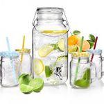Vintage Getränkeset – 5-teilig mit Gläsern und 3,7 Liter Getränkespender für nur 19,99€