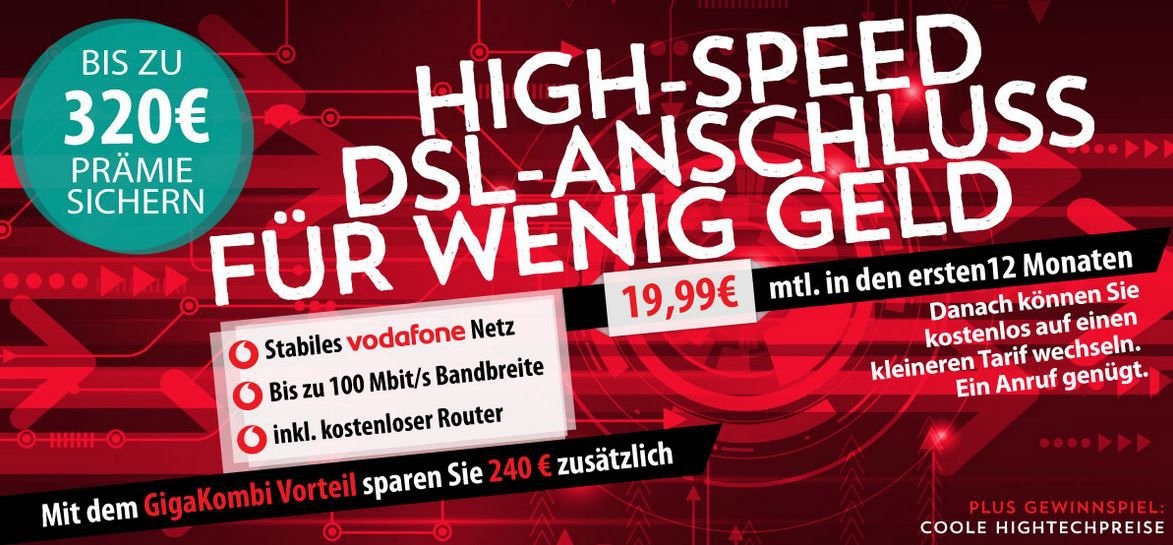 Vodafone DSL: dank Cashback inkl. Router ab 14,36€ mtl.,