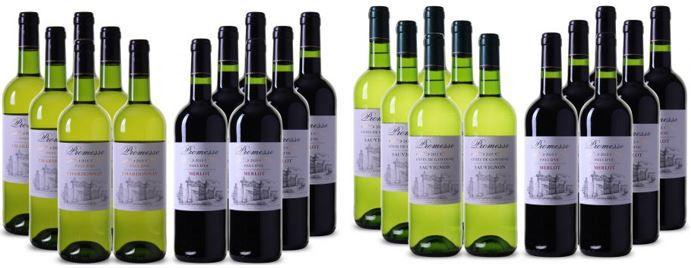 6 x Promesse Merlot + 6 Chardonnay oder 6 Sauvignon Blanc für nur 48€   bis Mitternacht
