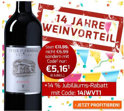 Weinvorteil Rabatt Weinvorteil: 14% Rabatt auf (fast) alles bis Mitternacht!