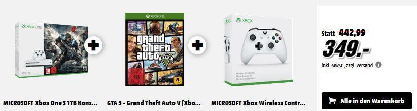 Xbox One S 1TB + Gears of War 4 Xbox One S 1TB + Gears of War 4 + W. Controller + 1 Game nach Wahl für 349€  oder Xbox One S  500GB mit 3 Games für 299€