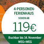 Center Parcs Ferienhaus Wettrennen z.B. 119€ für 4 Personen & 4 Nächte