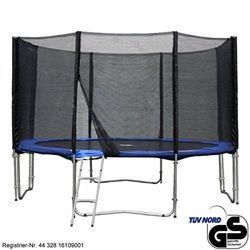gartentrampolin trampolin 366 cm 370 cm x 250 cm blau sicherheitsnetz mit 8 stangen und leite Gartentrampolin mit  3,7m Ø inkl. 8 Stangen und Leiter für 179,10€ (stattt 199,95€)