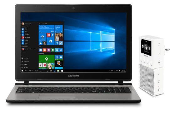 laptop radio th 15,6 Notebook (2 x 2,1 GHz, 8GB, 500GB, Win10) + Internetradio MEDION® E85032 + 32GB microSD Karte für 399€ (statt 564€)
