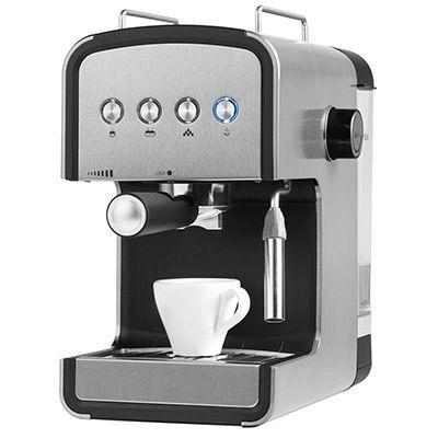 Espressomaschine MEDION MD 17115 mit Milchaufschäumer in silber für 45,99€ (statt 70€)