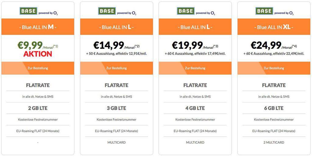 BASE Telefon  und SMS Flatrate, 2GB LTE , Festnetznummer und EU Roaming Flat für 9,99€ mtl.