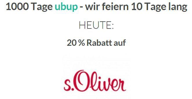 ubup Banner Nur heute: 20% Extra Rabatt auf S. Oliver bei Ubup