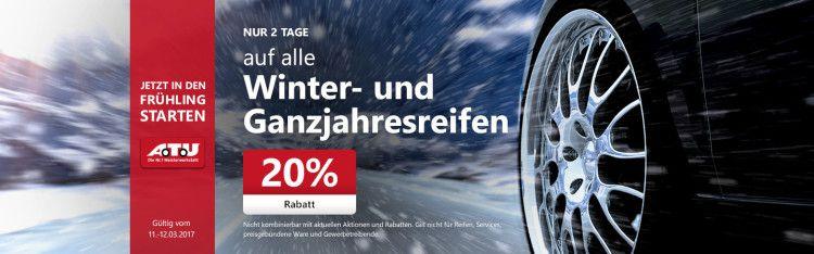 20% auf alle Winter  und Ganzjahresreifen bei A.T.U