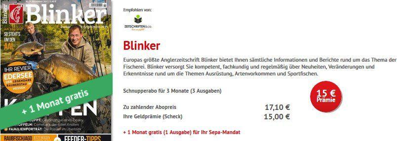 Blinker mini Abo   4 Monate für 17,10€ + 15€ Verrechnungsscheck