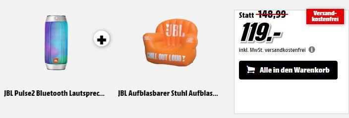 JBL Pulse2 in Silber + aufblasbarer Sessel für 119€