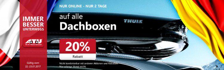 20% auf Dachboxen + 5€ Gutschein bei A.T.U   z.B. Thule Flow 606 für 602,99€ (statt 749€)