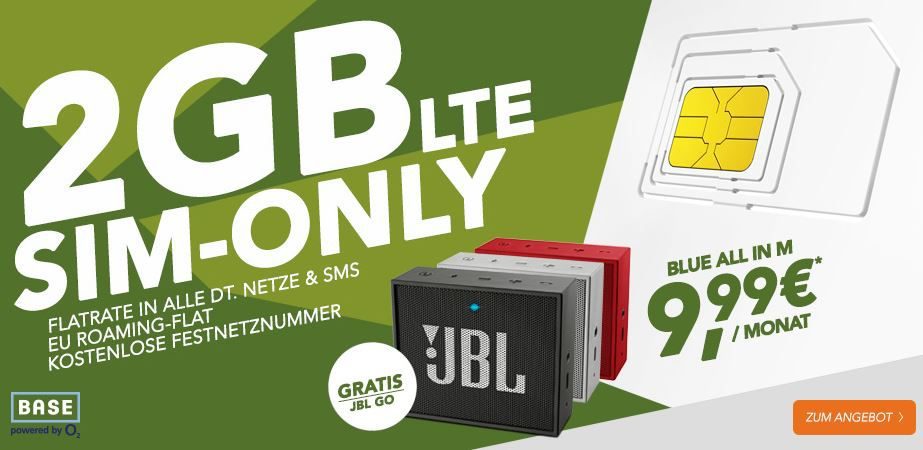 2GB Sim Only Base All In: Telefonie + SMS Flat + 2GB Daten + Festnetz Nummer + JBL Go BT Lautsprecher für nur 9,99€ mtl.