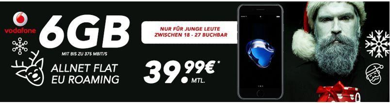 Wieder da! Apple iPhone 7 + Vodafone Allnet + SMS Flat mit 6GB Daten für 35,03€ mtl.   nur Junge Leute bis 28 Jahre