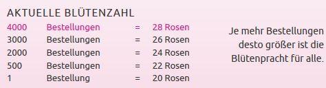 Aktuelle Blütenzahl Miflora Rosen Rallye   28 bunte Rosen für nur 18,90€
