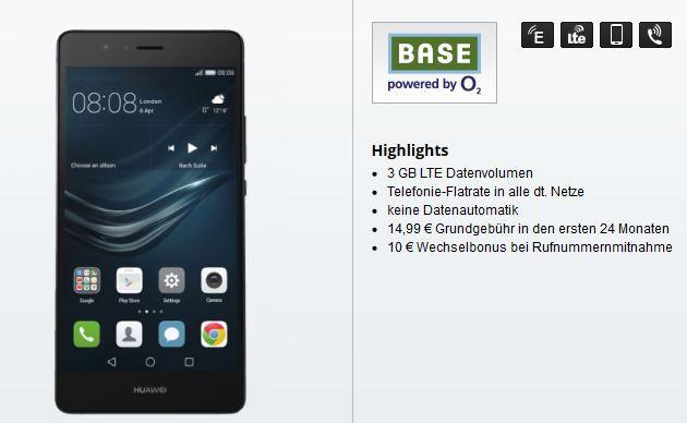 Huawei P9 Lite + BASE Pur mit Flat Telefonie + 3 GB Daten für nur 14,99€ mtl.