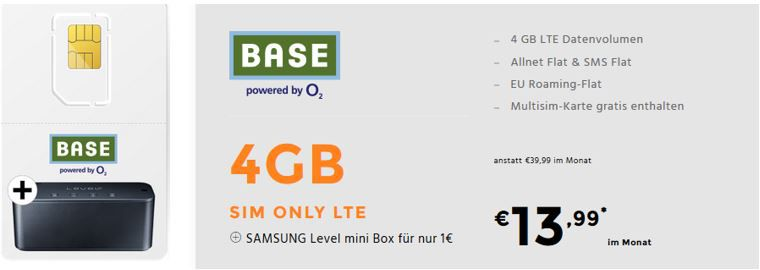Base Allnet Flat mit 4GB LTE für 13,99€mtl. + Samsung Level mini Lautsprecher für 1€ (statt 50€)