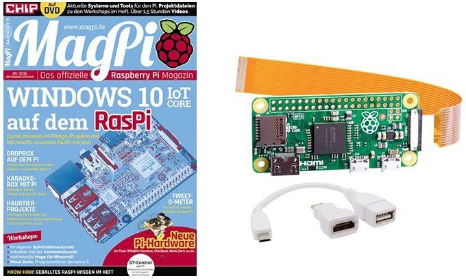 6 Ausgaben MagPi + Raspberry Pi Zero inkl. HDMI Konverter für 54,80€