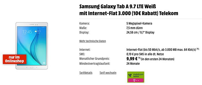 Tipp! Samsung Galaxy Tab A 9.7 LTE für 41€ + 3GB Telekom LTE Flat für 9,99€ mtl.