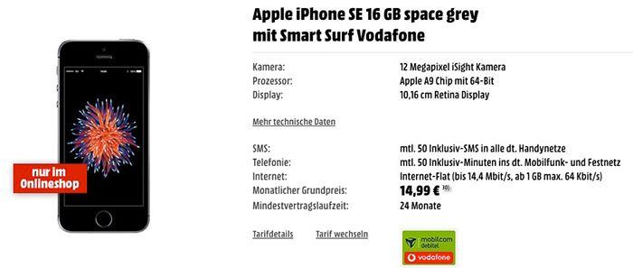 Bildschirmfoto 2016 12 02 um 11.26.24 iPhone SE mit 16GB + Vodafone Smart Surf mit 1GB + 50 Min/SMS für 14,99€ mtl.
