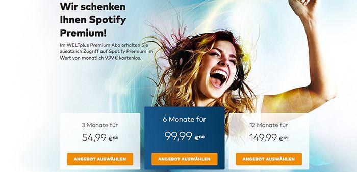 Bildschirmfoto 2016 12 02 um 13.30.01 12 Monate WELTplus Premium Abo für 149,99€ + 12 Monate gratis Spotify Premium   TOP!