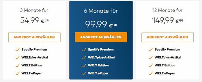 Bildschirmfoto 2016 12 02 um 13.35.10 12 Monate WELTplus Premium Abo für 149,99€ + 12 Monate gratis Spotify Premium   TOP!