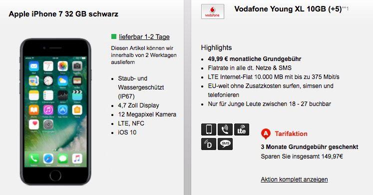 Vodafone Young XL mit 10GB LTE für 49,99€ mtl. + iPhone 7 ab 1€   nur junge Leute!