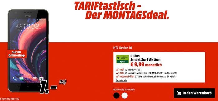 HTC Desire 10 für nur 41€ (statt 277€) + E Plus Smart Surf mit 1GB LTE für 9,99€ mtl.