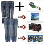 2er Pack HIS Herren Jeans + Rasierer, Sportuhr, Haartrimmer oder Blu-ray Bundle für je 66€
