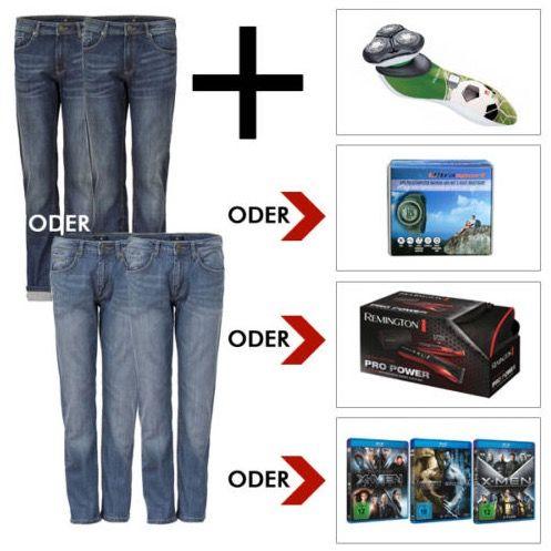 2er Pack HIS Herren Jeans + Rasierer, Sportuhr, Haartrimmer oder Blu ray Bundle für je 66€