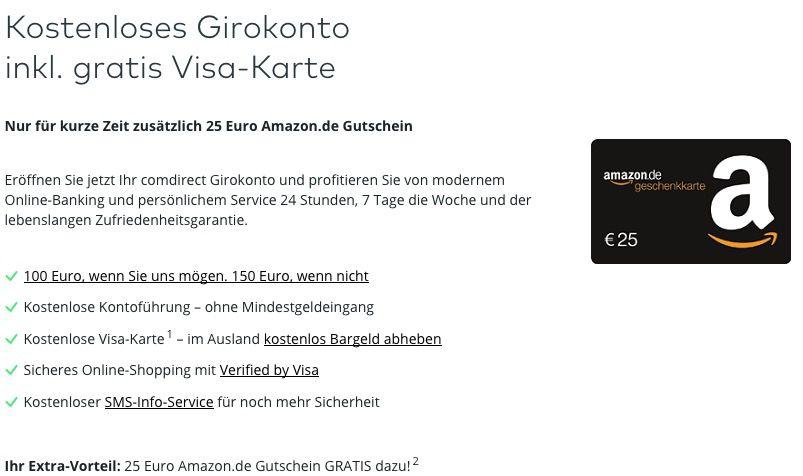 Bildschirmfoto 2016 12 05 um 18.28.33 Bis zu 150€ Geschenkt für ein kostenloses Girokonto bei Comdirect + 25€ Amazon Gutschein