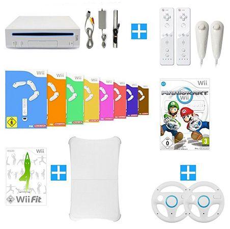 Wii Konsole + 8 Spiele + Mario Kart + Wii Fit + Balance Board + Remote für 99,99€ (B Ware)