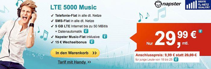 o2 Allnet Flat + 5GB LTE + Napster Music Flat für 29,99€ mtl.