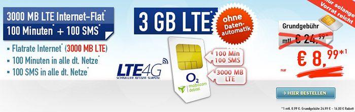 o2 Smart Light mit 3GB LTE + 100 Min + 100 SMS für 8,99€ mtl.   ohne Datenautomatik!
