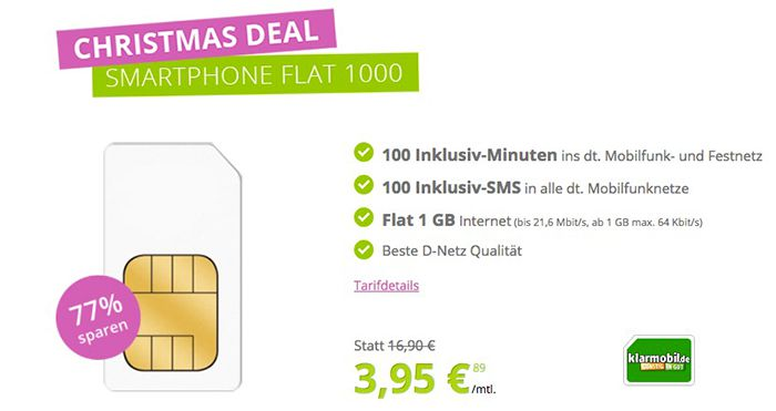 klarmobil Tarif mit 1GB + 100 Min + 100 SMS für 3,95€ mtl.   Vodafone Netz!