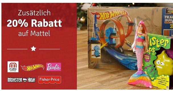 20% Rabatt auf Mattel Artikel (Fisher Price, Barbie, Hot Wheels & mehr) bei myToys + 5€ Gutschein