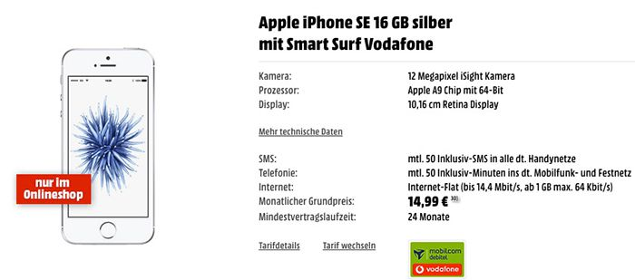 iPhone SE mit 16GB + Vodafone Smart Surf mit 1GB + 50 Min/SMS für 14,99€ mtl.